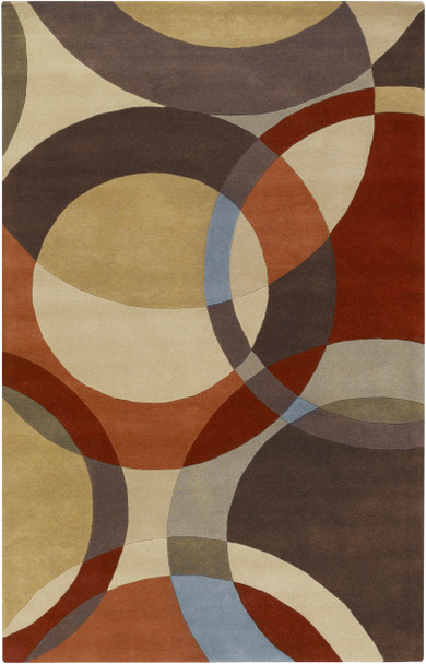 Forum Modern Circles Hand Tufted Brown and Tan Wool Rug~FM7108