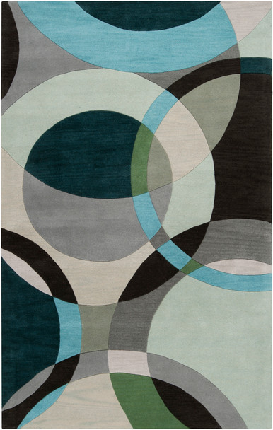 Forum Modern Circles Hand Tufted Black and Green Wool Rug~FM7157