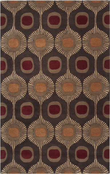 Forum Midcentury Abstract Hand Tufted Dark Brown Wool Rug~FM7170