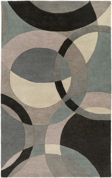 Forum Modern Circles Hand Tufted Black and Khaki Wool Rug~FM7193