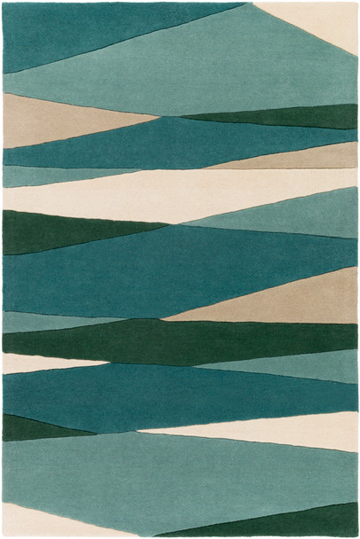Forum Midcentury Diamond Green and Tan Wool Rug~FM7204
