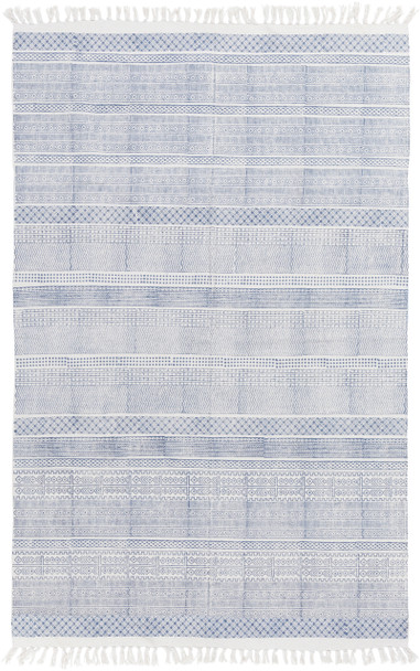 Idina Farmhouse Hand Woven Kilim Cotton Blue Rug~IDI8800