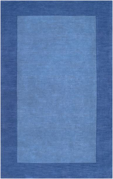 Mystique Hand Loomed Tone on Tone Delft Blue Wool Rug~M308