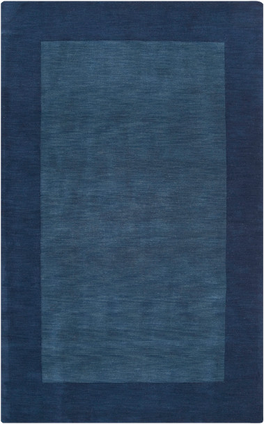 Mystique Hand Loomed Tone on Tone Border Navy Blue Wool Rug~M309
