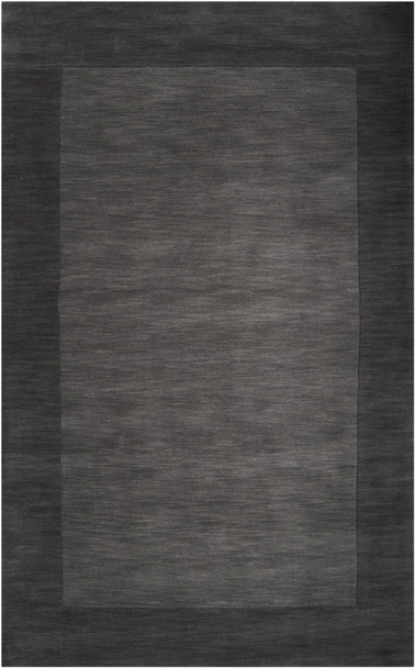 Mystique Hand Loomed Tone on Tone Border Charcoal Black Wool Rug~M347