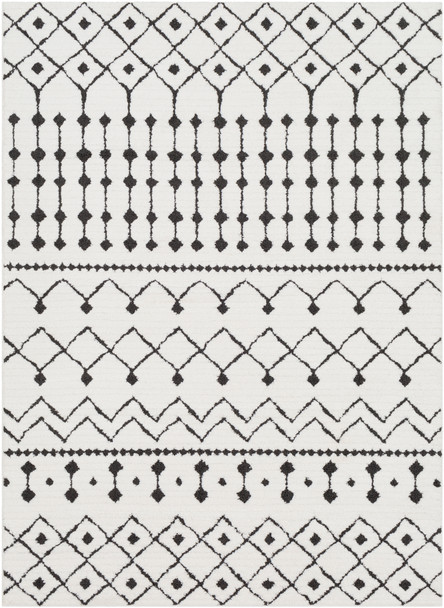Moroccan Shag Black and White Rug~MCS2309