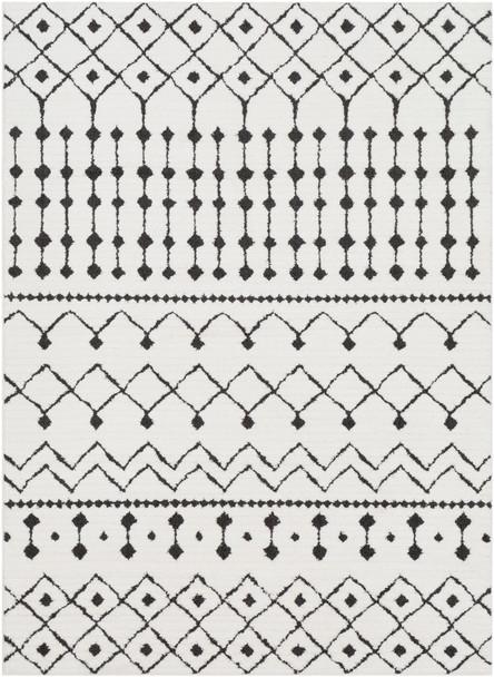 Moroccan Shag Black and White Rug~MCS2309