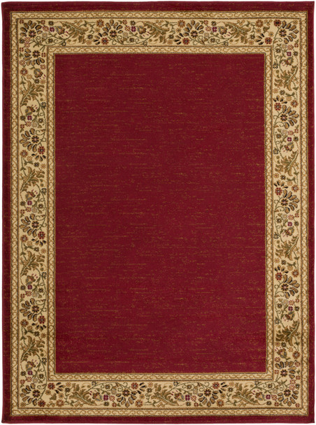 Midtown Floral Border Dark Red and Camel Rug~MID4740