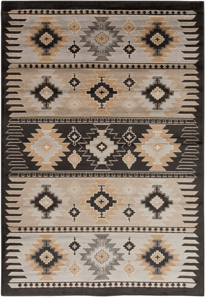 Paramount Tribal Medium Gray and Charcoal Rug~PAR1046