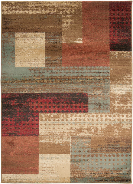 Riley Modern Box Dark Red and Brown Rug~RLY5004