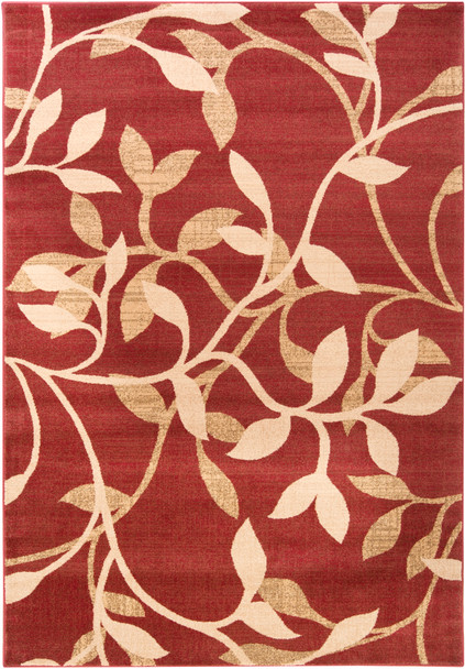 Riley Trailing Vine Dark Red and Tan Rug~RLY5011