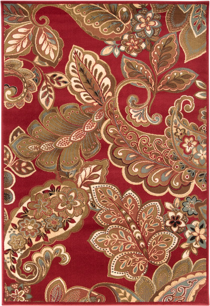 Riley Paisley Dark Red and Tan Rug~RLY5020