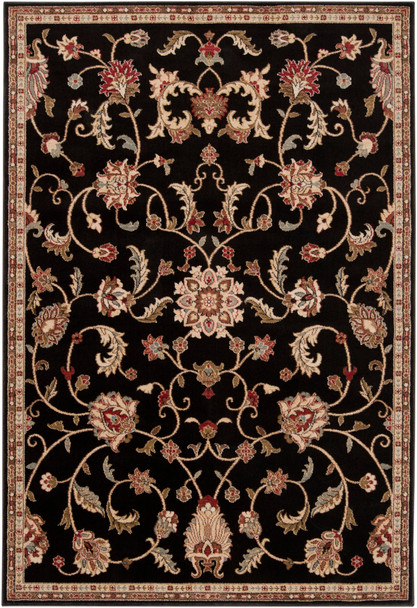 Riley Traditional Floral Black and Tan Rug~RLY5025