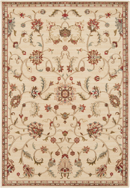 Riley Open Floral Tan and Burnt Orange Rug~RLY5026