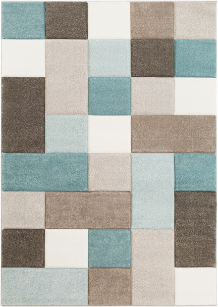 Santa Monica Abstract Squares Aqua Blue and Brown Rug~SAC2300