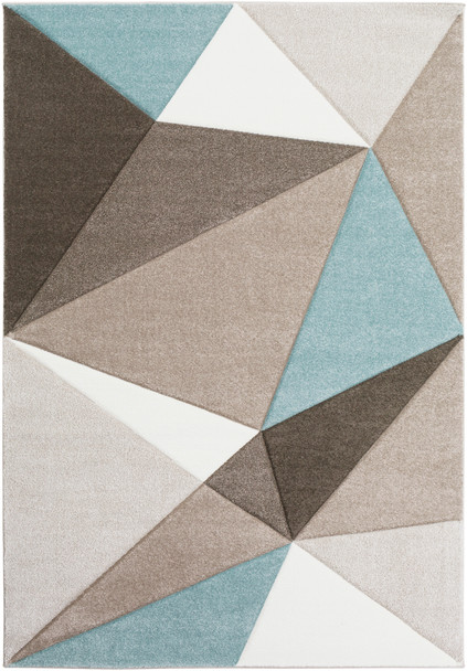 Santa Monica Abstract Triangle Aqua Blue and Taupe Rug~SAC2304