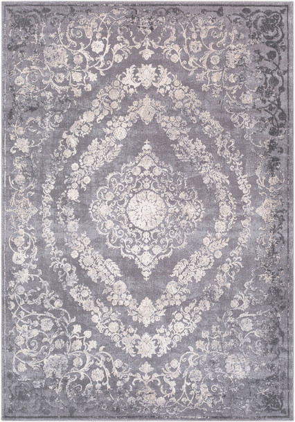 Tibetan Modern Medallion Medium Gray and Cream Rug~TBT2301