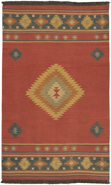 Jewel Tone Center Diamond Dark Red Kilim Wool Rug~JT1033