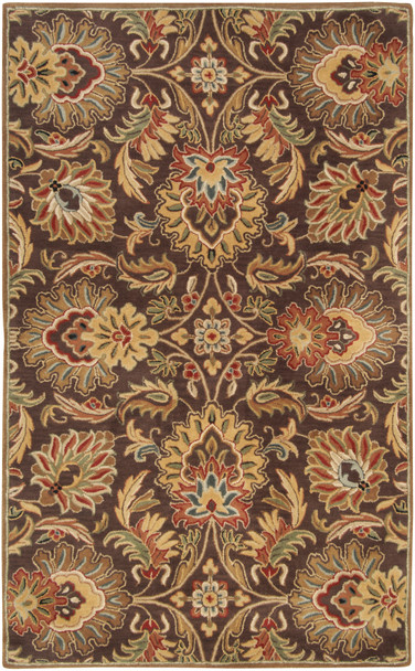 Caesar Classic Deep Brown and Gray Hand Tufted Wool Rug~CAE1028