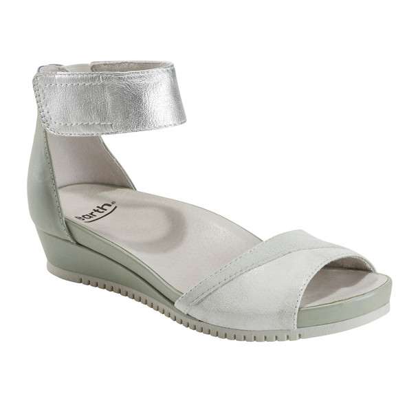 Ficus Sagittarius Metallic Leather Sandal - Wide~602933WWMET