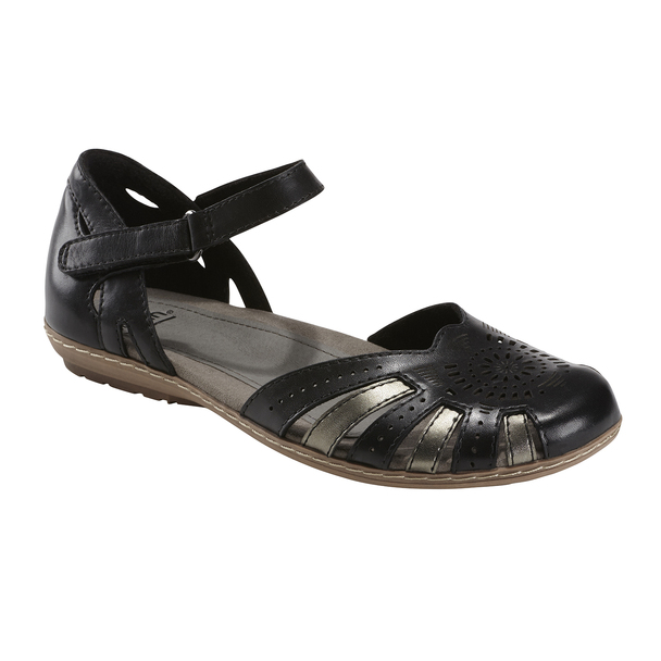 Camellia Cahoon Leather Sandal - Wide~Black*602947WWLEA