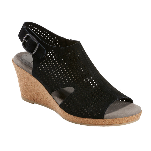 Woodland Radiant Nubuck Leather Sandal~Black*602952WBCK