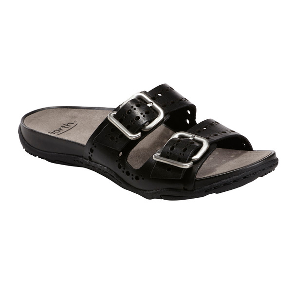 Sand Havana Leather Slide Sandal~Black*602974WCLF