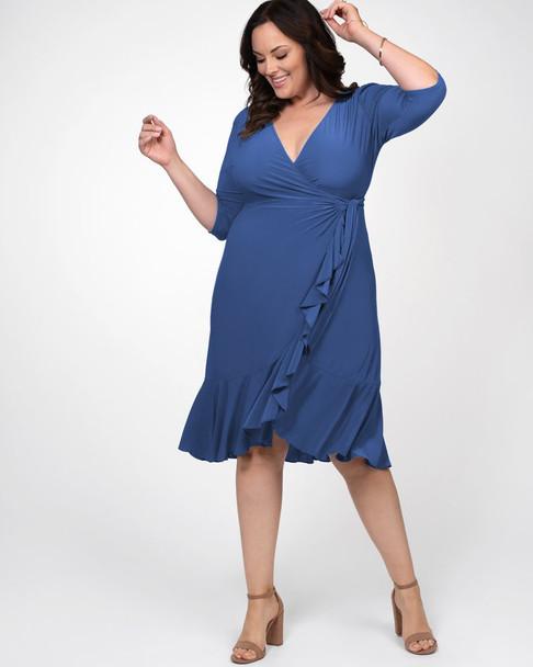 Kiyonna Women's Plus Size Whimsy Wrap Dress~Blue*1122201