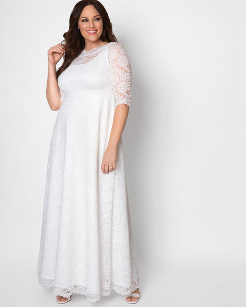 Kiyonna Women's Plus Size Sweet Serenity Wedding Gown~Ivory Shimmer*13170916