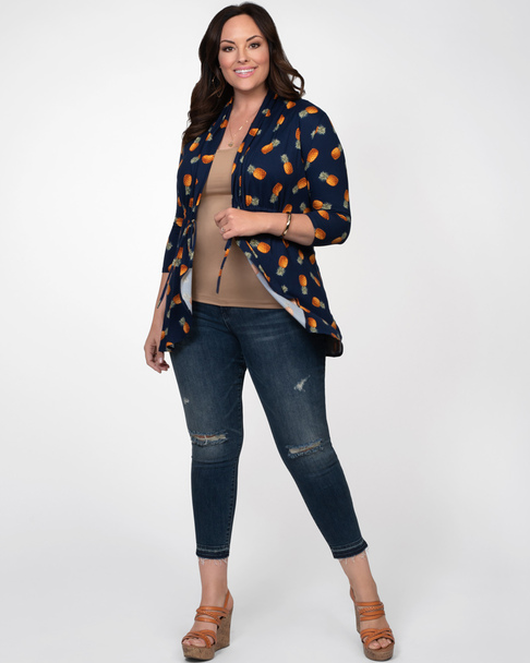 Kiyonna Women's Plus Size Lori Printed Bellini Cardigan~Navy/Blue/Orange*21182201