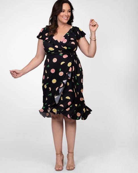Kiyonna Women's Plus Size Phoebe Flounce Wrap Dress~Black/Yellow/Pink*12182205
