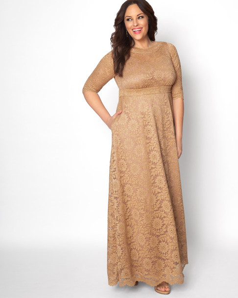 Kiyonna Women's Plus Size Leona Lace Glitter Gown~Gold/Yellow*13180910