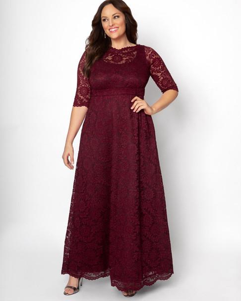 Kiyonna Women's Plus Size Leona Lace Glitter Gown~Red/Burgundy*13180910