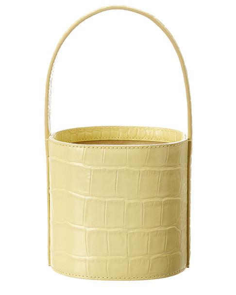 STAUD Bisset Mini Croc-Embossed Leather Bucket Bag~11602947380000