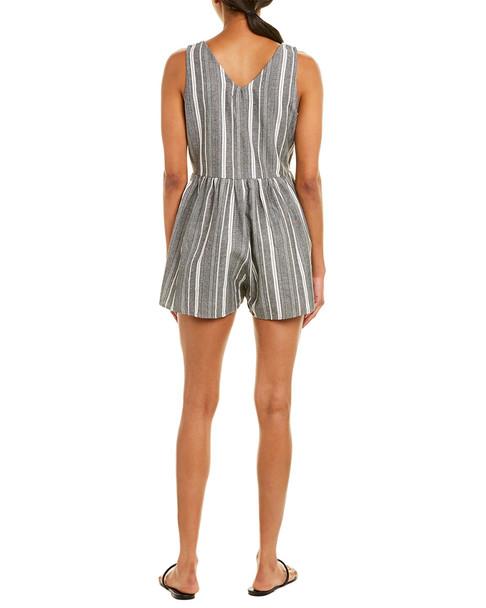 Paper Crane Stripe Linen-Blend Romper~1411026533