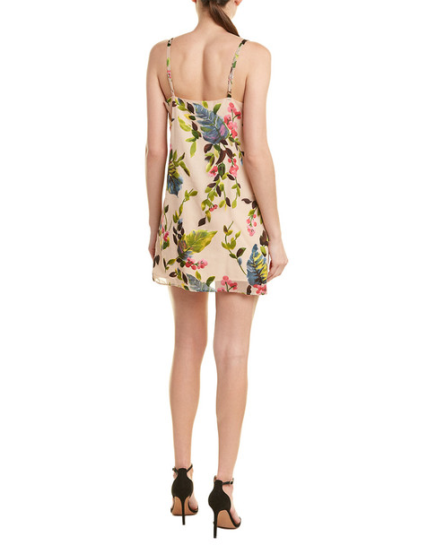 Lavender Brown Floral Shift Dress~1411992646