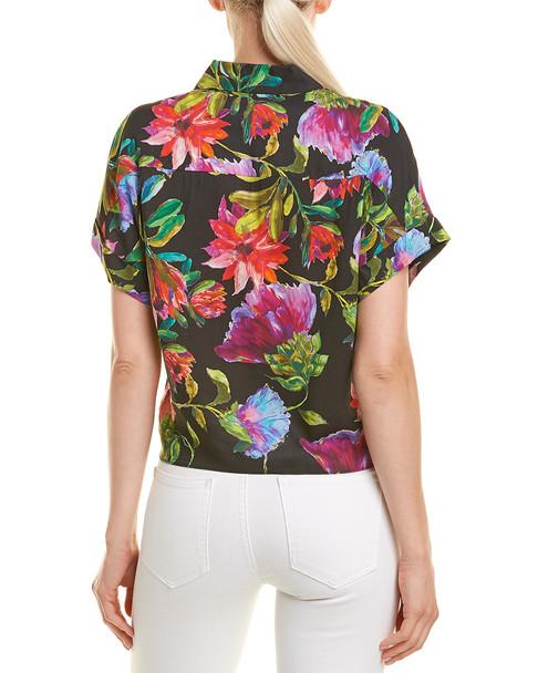 Lavender Brown Floral Buttondown Shirt~1411992662
