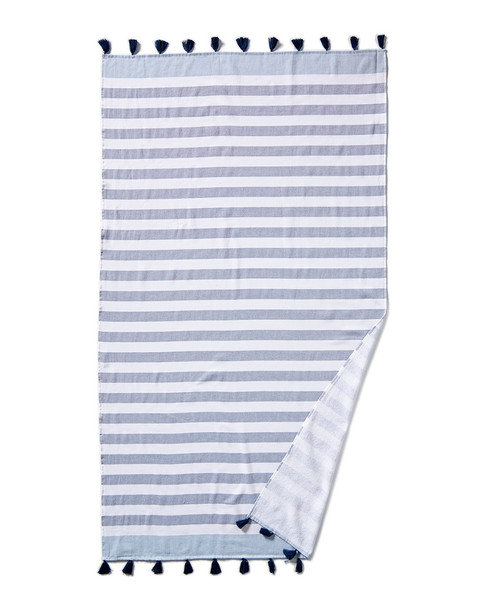 Peacock Alley Cabana Striped Turkish Cotton Beach Towel with Tassels~3030232647