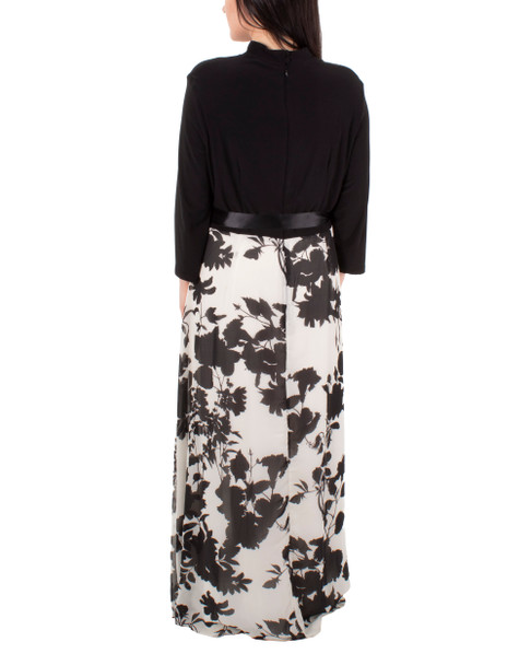 Printed Wrap Maxi Dress~Black Shadeflorduo*MITD3990