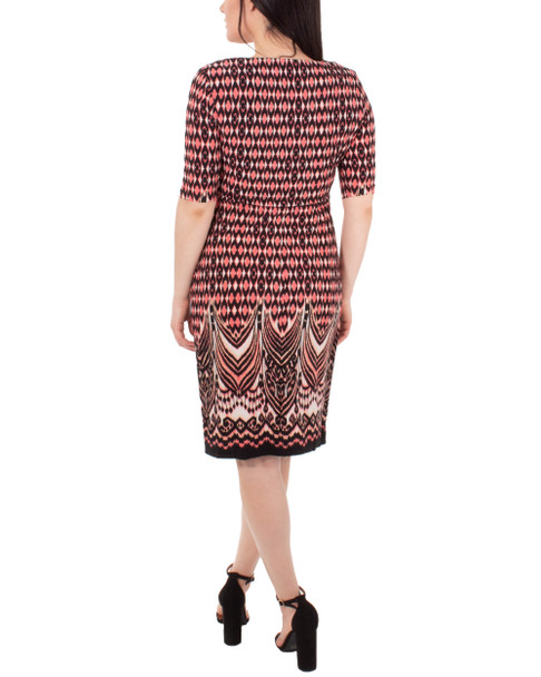 Draped Printed Shift Dress~Coral Diamondarch*MITD4002