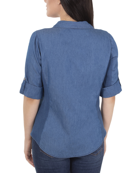 Petite 3/4 Roll Tab Chambray Button Up Top~Med Knitdenim*PCBB0294