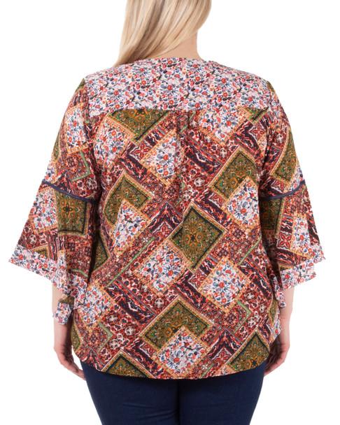 Plus Size Angel Sleeve Crochet Trim Top~Multi Steyrfleur*ZCRZ0109