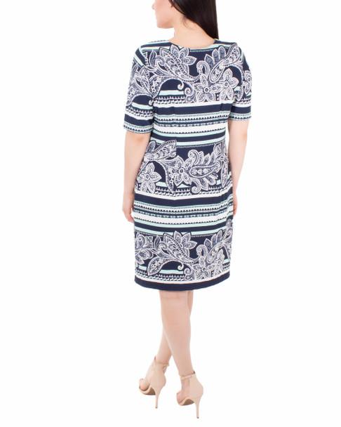 Elbow Sleeve Shift Dress~Navy Paistribeline*MITD3987