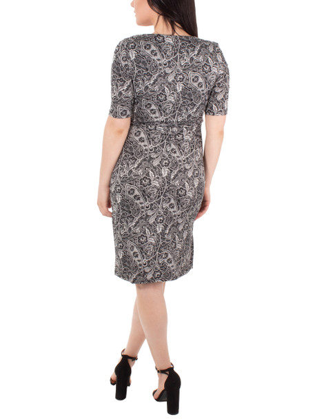 Draped Printed Shift Dress~Night Historic*MITD3994