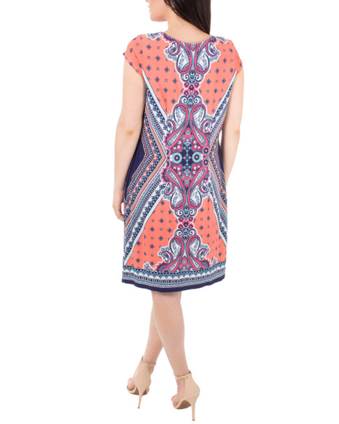 Cap Sleeve Printed Shift Dress~Orange Mirrorpais*MITD3991