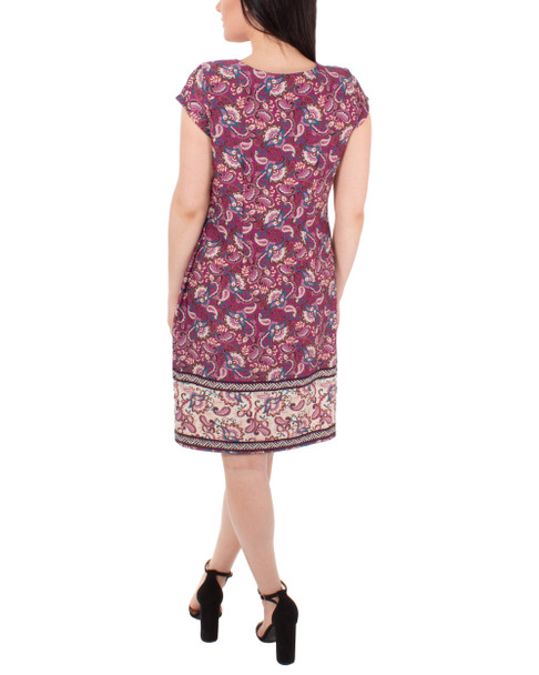 Cap Sleeve Printed Shift Dress~Plum Otrera*MITD3999