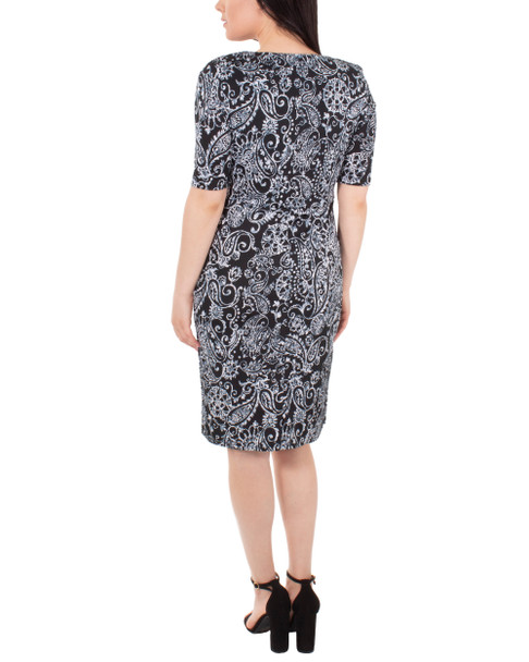 Draped Printed Shift Dress~Verbena*MITD3994