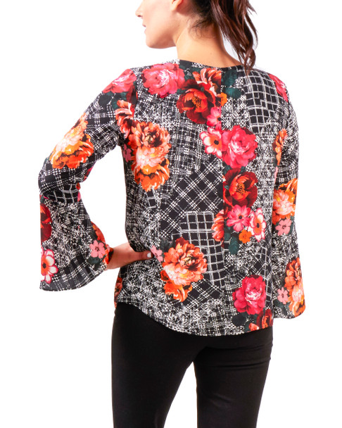 Printed Lace Up V Neck Bell Sleeve Top~Black Luxefleur*MDOU1750