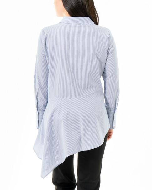 Stripe Asymmetrical Wide Cuff Button Down Shirt~Blue Capristripe*MPLB0377