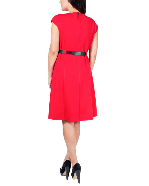 Petite Short Sleeve Belted Dress~Jalapeno Red*PDKD0381